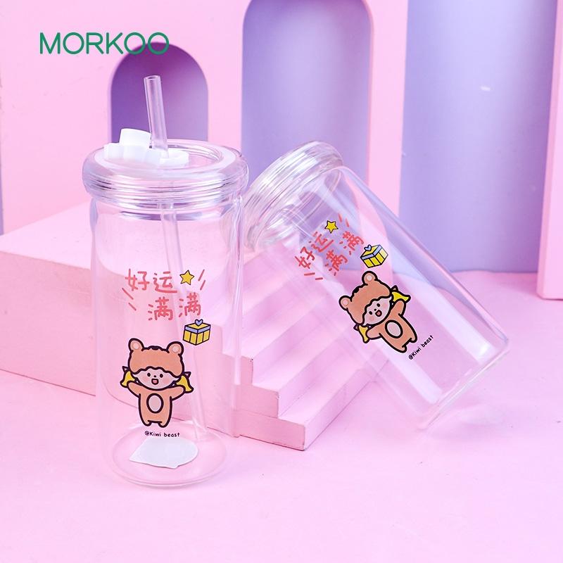韩版玻璃吸管杯